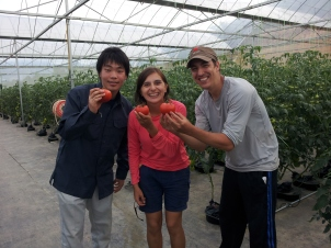 L-R: Ren, from Japan; Maria and Rodrigo from Chile. Volunteered with us on August 2014.